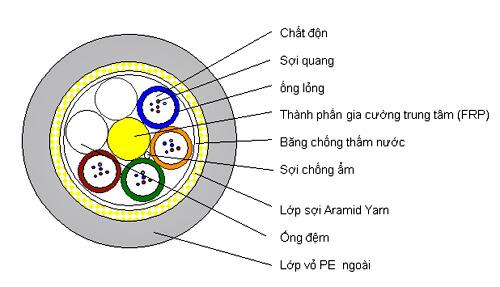 Cấu trúc Cáp quang ADSS 12FO KV100